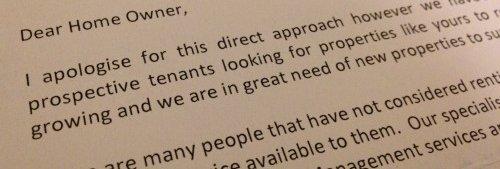 Estate agent letter