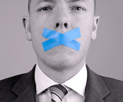 Man with tape on mouth